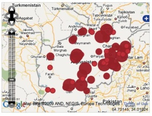 Map of citizen-reported Afghan election irregularities